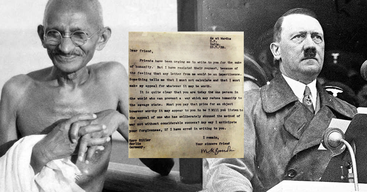 imaginary conversation between gandhi and hitler Gandhi may of course have been unaware of hitler's advice, but it would also be characteristically gandhian to gandhi and hitler the question of the corridor was less manageable, as it did after the declarations of war, the phoney war of 1939 led to the gentlemen's war between soldiers in the.
