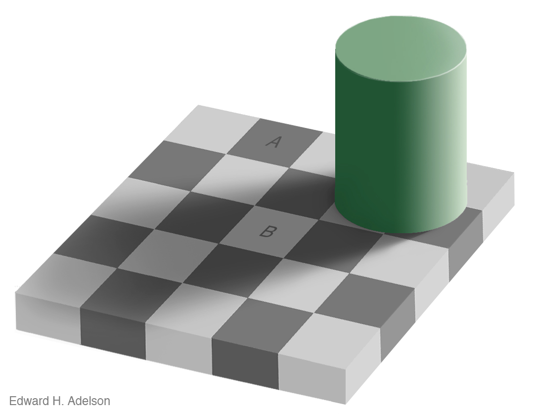 Because Of The Green Cylinders Shadow And Fact That A Is Surrounded By Lighter Colour Squares While B Darker Gives