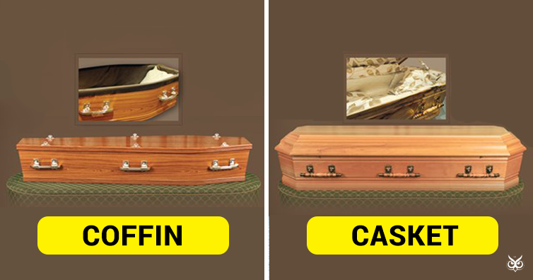 this is the difference between 'coffin' and 'casket' - i'm a useless